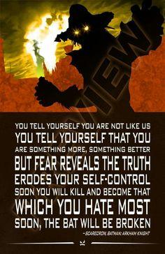 Scarecrow quote. Jonathan Crane. Arkham Knight. Injustice League. Legion of Doom. Sinestro Corp. DC Comics.