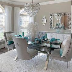 Home Decoration Design Ideas Dining Room Blue, Dining Room Table Decor, Elegant Dining Room, Luxury Dining Room, Dining Room Design, Living Room Decor, Espace Design, Home Decor Shops, Home Decor Inspiration