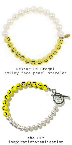DIY Nektar De Stagni knockoff smiley face pearl bracelet