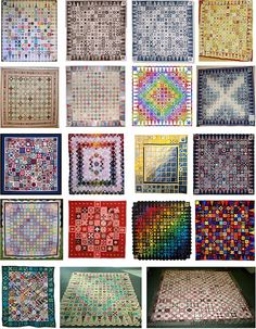"""16 Baby Jane pics from the Quilt Inspiration blog Row 1: My Dear Jane (aka """"Insanity""""), by Karen Goad at Karen's Quilting; Dear Jane(s) - brown and blue indigo, by Tutu Haynes-Smart; In the Heat of the Day, by Marie-Suzanne Charlot at Au-Fil-de-l-Autre. Row 2: Dear Jane, by Maryellen Sand Bodell at the Santa Monica Quilt Guild; Facets - Rubies, Emeralds, and Sapphires, by Marcie Thompson at The Blue Cat Creations; Rainbow Jane, by Anina at Twiddletails; Baby Dear Jane, by Berna..."""