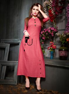 Shop Pink Rayon Readymade Kurti 143010 online at best price from vast collection of designer kurti at Indianclothstore.com.