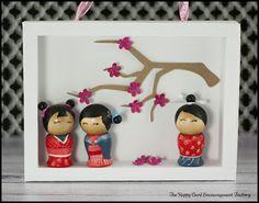 The Happy Card Encouragement Factory: Kokeshi Doll Shadow Box