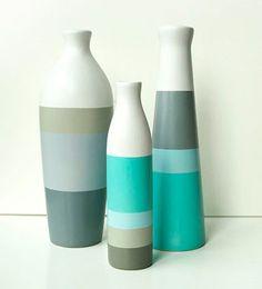 Unbelievable Tips: Ceramic Vases Life antique glass vases.What To Put In Big Vases. Glass Bottle Crafts, Diy Bottle, Bottle Art, Pottery Painting, Ceramic Painting, Ceramic Vase, Diy Home Crafts, Jar Crafts, Vase Design