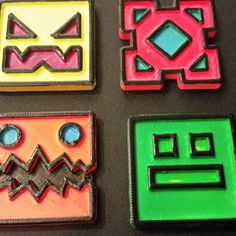 Free Geometry Dash Icons 3D model, ChaosCoreTech Lego Birthday Party, 9th Birthday, Birthday Cake, Geometry Dash Lite, Galaxy Cake, Best Youtubers, Best Part Of Me, 3d Printing, Crafts For Kids