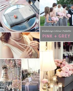 Pink and Grey Wedding but I would do blue and grey?