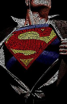 An oversized limited edition giclee on canvas featuring an image of Superman. This stunning portrait was created with words from the characters and other memorable people, places and events from the Superman comic books. Logo Superman, Superman Images, Superman Artwork, Superman Comic Books, Superman Wallpaper, Comic Books Art, Superman Tattoos, Superman Poster, Superman Superman