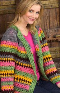 This Vintage Striped Jacket from Red Heart is certainly a one of a kind free crochet jacket. The bright stripes are done in Super Saver yarn in five bold colors. It's a warm jacket for the intermediate crocheter.