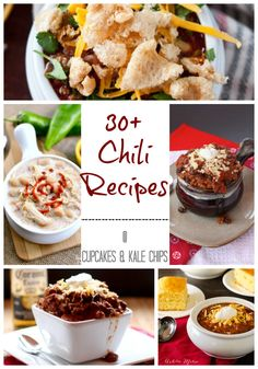 30+ Chili Recipes for the big game or comfort food for cold nights! You'll be sure to find the best chili recipe in this virtual chili cook off! | cupcakesandkalechips.com