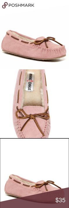 Minnetonka Blush Moccasin Slipper NWT.  Blush is In!  DESCRIPTION  Slip on these blissfully comfy slippers for a relaxing day! The Jr. Trapper moccasin slipper from Minnetonka is plush and stylish for a fashionable and comfy look. FEATURES  Suede upper with faux fur lining Heavy top stitching Leather lacing Flexible rubber sole with traction Imported Minnetonka Shoes Slippers