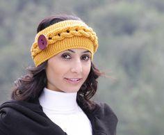 Mustard headband Womens headband Womens knit by SENNURSASA on Etsy