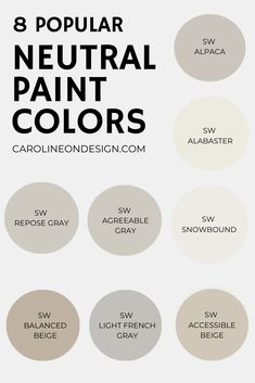 Dark paint may be the latest 'trend', but neutral walls in your home will ALWAYS be a timeless classic. If you're on the hunt for the perfect neutral, you'll find it below in my curated list of 8 popular Sherwin Williams neutral paint colors. #paintcolors #neutralpaint Calming Paint Colors, Beige Paint Colors, Best Neutral Paint Colors, Popular Paint Colors, Bedroom Paint Colors, Paint Colors For Home, Home Colors, Neutral Living Room Paint, Neutral Wall Paint