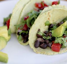 Black Bean Tacos with Cilantro Infused Tortillas {Beard and Bonnet}