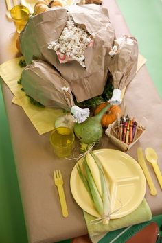paper bag popcorn turkey table