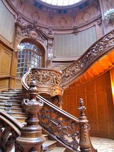 Escalier de la Maison des Scientistes, Lviv, Ukraine - House of Scientists staircase - Lviv's Neo-Baroque House of Scientists was built in 1897 by famed architects Fellner & Helmer, who also designed the George Hotel and the Odessa Opera House.