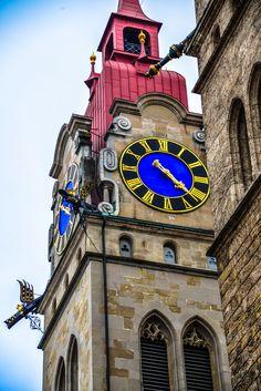 City church clock and bell tower, Winterthur, Switzerland