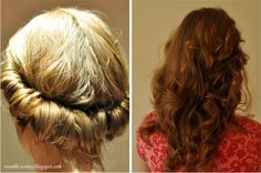 Ways to curl hair without heat.. Wrap hair in a headband. I wonder if it really works.