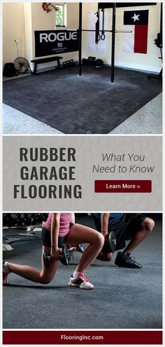 Garage Flooring : What You Need to Know Rubber flooring can turn your garage into a home gym, workshop or band practice space! Learn how to choose rubber garage flooring here.Chooser Chooser can refer to: Garage Gym Flooring, Rubber Garage Flooring, Garage Floor Mats, Home Gym Flooring, Garage Floor Paint, Flooring Ideas, Home Design, Design Ideas, Home Gym Garage