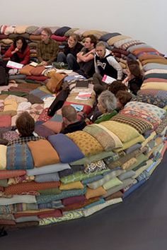 "Wow - wonderful round ""couch""  made entirely out of pillows!"