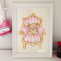 Sagostund - #barntavla #namntavla #illustration #akvarell #prinsessa #rosa #guld #vintage #kidsroom #girlsroom #boysroom #kidsinterior #paint #art #tavla #interior #interiorinspo #heminredning #deco #inspo #baby #bebis #babyshower