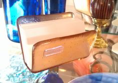 Office, Business Card Holder, Champagne, Peach, Blush, Transparent Fused Glass. $27.00, via Etsy.
