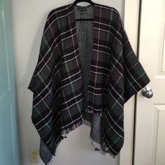 Saks Off 5th Plaid Cape NWOT green plaid cape for sale! Never been worn and very warm! Perfect for a cool day and super stylish. Make offers! Saks 5th Avenue Jackets & Coats