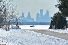 Wintry scene of the Philly Skyline from Sarobia and Logan's Point. (March 16, 2017)