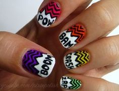 """""""Sound Effects Nail Art Tutorial"""" Did this once, it was awesome. I recommend it to anyone. Cartoon Nail Designs, Cool Nail Designs, Crazy Nail Art, Crazy Nails, Cute Nails, Pretty Nails, Nail Art Tools, Accent Nails, Nail Art Galleries"""