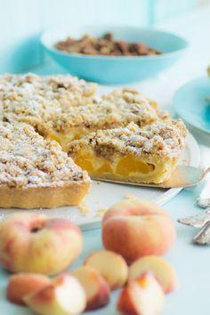 Pfirsich-Schmand-Pie </br>mit Pekan-Streuseln