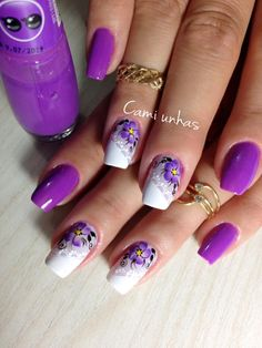 48 modelos de unhas decoradas com esmalte roxo Purple Nail Designs, New Nail Designs, Acrylic Nail Shapes, Acrylic Nails, Cute Nails, Pretty Nails, Finger, Nails Only, Flower Nail Art