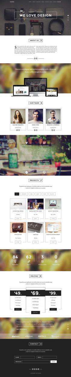 Haven - Elegant OnePage Template by WordPress Design Awards , via Behance