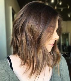 Choppy Brown Bob With Bronze Balayage