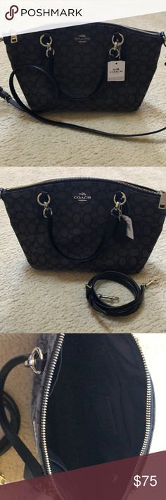 "Coach Purse Brand New, with tags, signature small Kelsey bag. Comes with a removable cross-body strap. Described as ""smoke black."" Coach Bags Satchels"