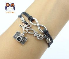 Infinity love karma bracelet camera wax rope by littlecuteowl, $3.99