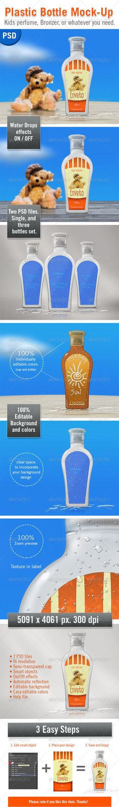 Description: A realistic plastic bottle Mock-Up in 2 PSD files. Fully editable and can change backgrounds and colors. Ideal for p