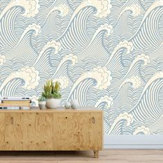 The Great Wave Wallpaper, Chinese Wave Wallpaper, Classic Wallpaper, Retro Wallpaper, Vintage Wallpa Waves Wallpaper, Wallpaper Size, Wallpaper Decor, Wallpaper Roll, Wallpaper For House, Beach Themed Wallpaper, Coastal Wallpaper, Nautical Wallpaper, Office Wallpaper
