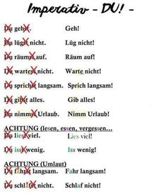 Imperativ Imperativ The post Imperativ appeared first on Deutschland. Latin Language, German Language Learning, Language Study, German Grammar, German Words, Deutsch Language, Study German, Grammar And Vocabulary, Learning Resources