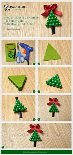 How to Make a Christmas Tree Hair Clip with Beads and Ribbon
