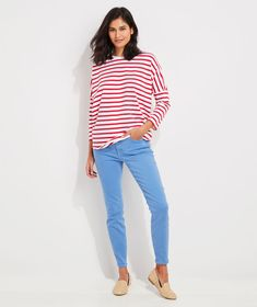 Shop Striped Deluxe Tee at vineyard vines Dye Jeans, Colored Denim, Oversized Shirt, High Rise Jeans, Stretch Denim, Pants For Women, Vineyard Vines, Feminine, Tees