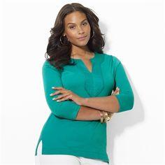 Lauren Ralph Lauren Plus Size Combed Cotton Tunic #VonMaur #LaurenRalphLauren #Turquoise #ThreeQuarterSleeves