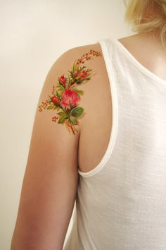 Floral vintage temporary tattoo design by Tattoorary on Etsy