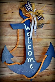 Anchor door hanger, nautical decor, beach door hanger, beach wall art, anchor … – Door Decorations room boy girl - New Sites Wooden Door Hangers, Wooden Doors, Plage Art Mural, Beach Crafts, Diy Crafts, Anchor Wall Art, Wood Anchor, Deco Marine, Nautical Party