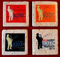 A set of custom coasters for the 2014 Newmarket Jazz+ Festival. 4x4 travertine marble.
