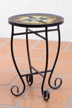 Handcrafted Stained Glass Table with Forged Iron Legs - Fire Star | NOVICA