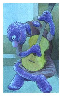Picasso_Old Guitarist_Sesame Street Muppets_Parody and Three Other Muppet art parodies