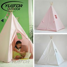 59.09$  Watch more here - http://aihl7.worlditems.win/all/product.php?id=32734722205 - Brand YUETOR High Quality 100% Cotton Canvas kids Play Tent With Tente Enfant Child Game House Indian Teepee Toy Tent For kids