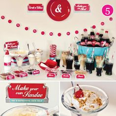 Let your guests make their own coke floats with this cute, retro ice-cream sundae bar a great addition to a retro, vintage Coca-Cola wedding reception. Coca Cola Wedding, Coca Cola Party, Sundae Bar, End Of Year Party, Party Time, Retro 50, Retro Vintage, Vintage Party, Coke Float