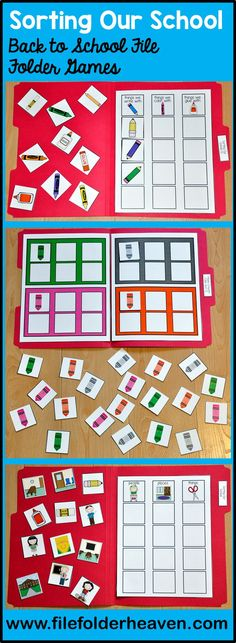 These Back to School File Folder Games are great activities to fill centers and workstations in the beginning of the school year.  With these back to school themed activities, students sort objects by size, color, likeness and function.