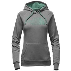 The North Face Women's Half Dome Hoodie Sweatshirt TNF Medium Grey... ($45) ❤ liked on Polyvore featuring tops, hoodies, hoodie top, hooded sweatshirt, the north face hoodie, heather grey hoodie and hoodies pullover