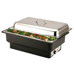 Chafing Dish Electric, GN 1/1 (adica 530 X 325 mm); Cuprinde vas de apa din polipropilena, setari pana la 100°C, cu lumina pilot; Include vas pentru alimente GN 1/1 , cu adancimea de 65 mm; Adecvat pentru tavi GN cu adancimea de pana la 100 mm; Dimensiuni: 573x348x(H)284 mm; Capacitatea: 13,5 litri; Putere: 230 V, 900 W. Produs Profesional Horeca fabricat in Olanda; Buffet Set, Buffet Server, Food Warmer Buffet, Dish Display, Keep Food Warm, Chafing Dishes, Sunday Roast, Container Size