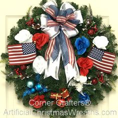 Patriotic Christmas Wreath - 2013 - Our Patriotic Christmas Wreath in red, white and blue is a beautiful Christmas Wreath to show your love for this great country! #ArtificialChristmasWreaths #ChristmasWreaths #Wreaths #PatrioticWreaths